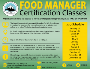 Food Manager Certification Class @ Lexington-Fayette County Health Department (Dr. Rice C. Leach Community Room) | Lexington | Kentucky | United States