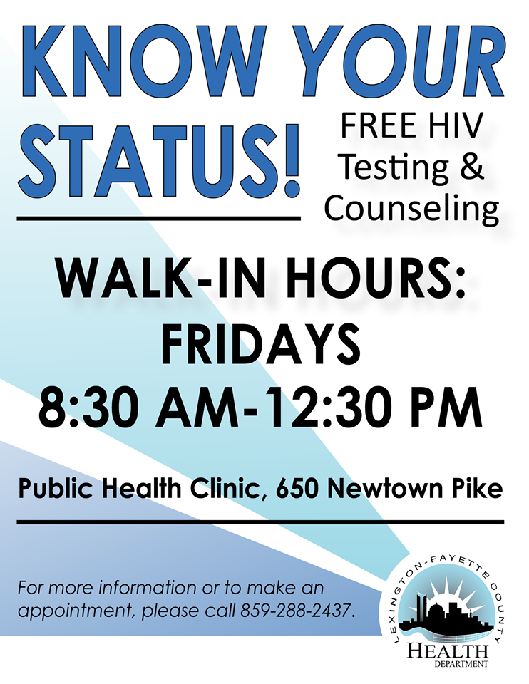 New walk-in hours for free HIV testing: 8:30 a m -12:30 p m