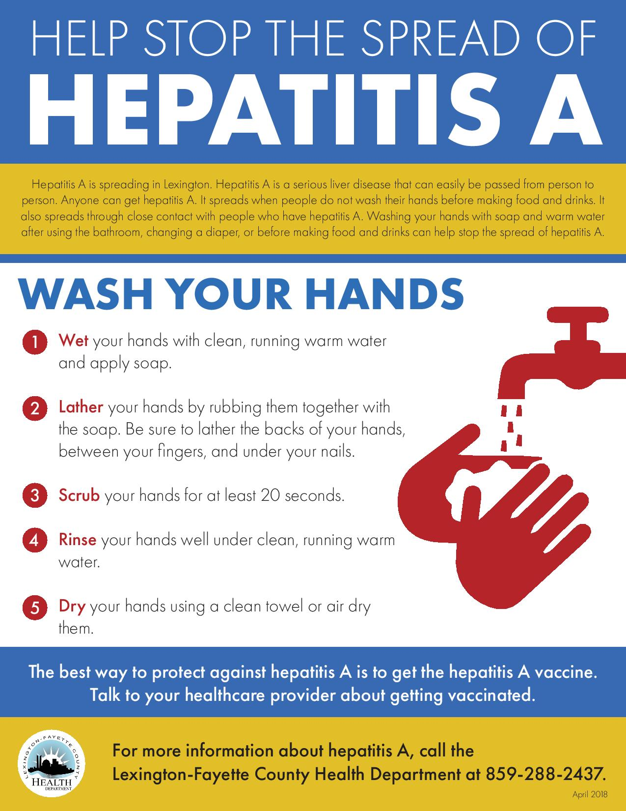 Hepatitis A: Get vaccination, wash your hands for prevention
