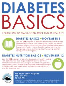 Diabetes & Nutrition Basics @ Bell House | Lexington | Kentucky | United States