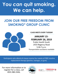 Freedom From Smoking Group Clinic @ Public Health South | Lexington | Kentucky | United States