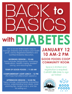 Back to Basics with Diabetes @ Good Foods Coop | Lexington | Kentucky | United States