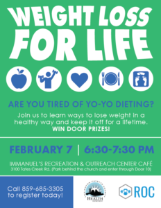 Weight Loss for Life @ Immanuel's Recreation & Outreach Center Cafe | Lexington | Kentucky | United States