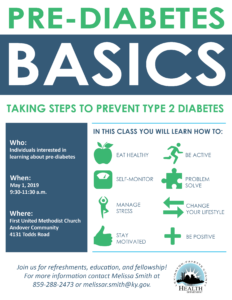 Pre-diabetes Basics Class @ First United Methodist Church-Andover Community | Lexington | Kentucky | United States
