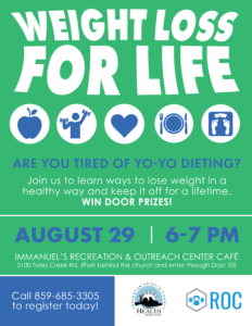 Weight Loss for Life Class @ Immanuel's Recreation & Outreach Center Cafe | Lexington | Kentucky | United States