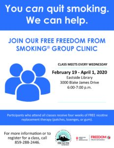 Freedom From Smoking Group Clinic @ Lexington Public Library Eastside Branch | Lexington | Kentucky | United States